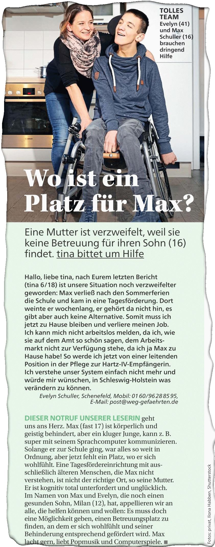 tina_14112018 Neuer Artikel über Max im Tina Magazin erschienen
